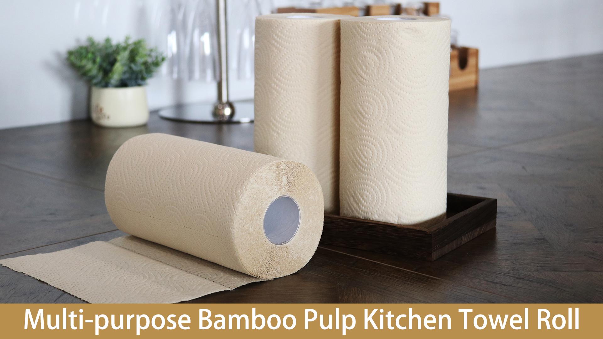 Aceite secante de pulpa 2ply relieve toalla de papel desechable rollo de tejido 173 hojas cocina rollo de papel Jumbo