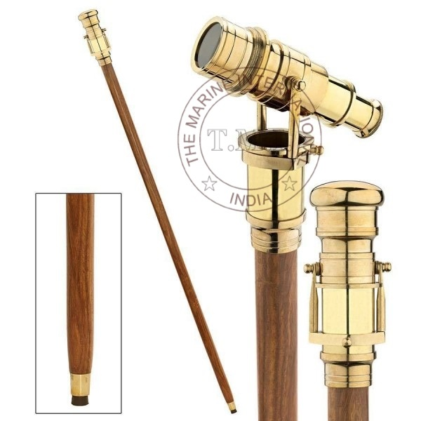 Wooden Walking Stick Full Length Folding Cane Antique Brass Telescope on Handle
