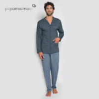 Men's pyjama all opened with long sleeves and long pants Elegant man's pyjama