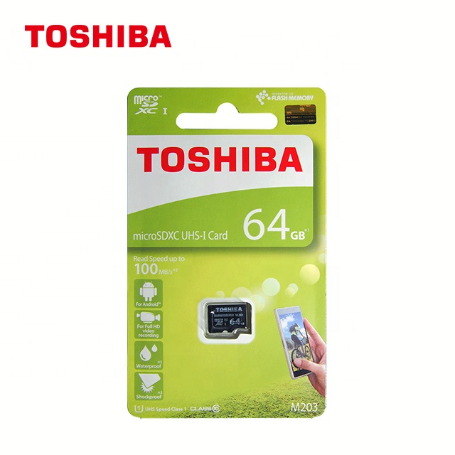 100% original Full capacity  TOSHIBA microSD card M203  U1 Class10  memory card 64gb