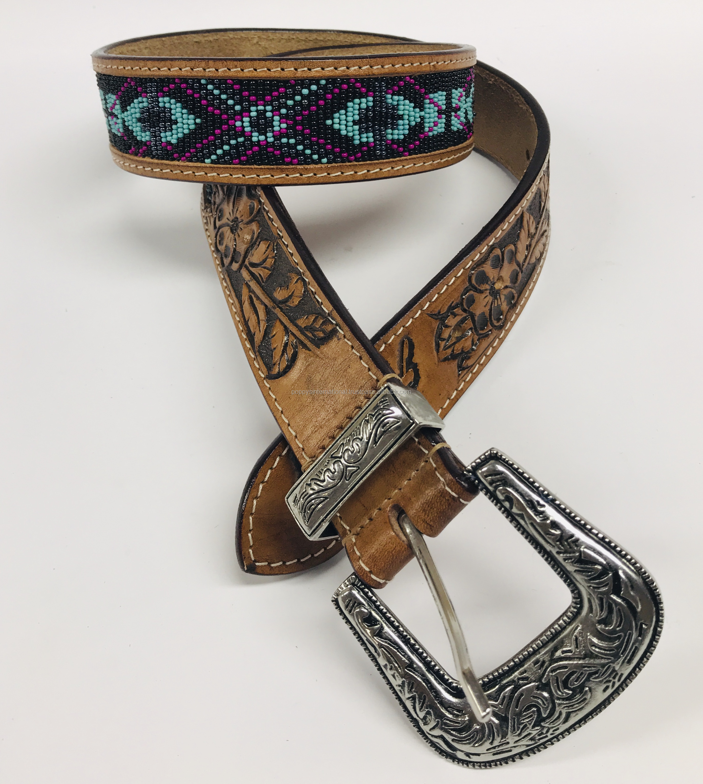 HAND MADE SPECIAL CROSS BEADED DESIGN LEATHER BELT
