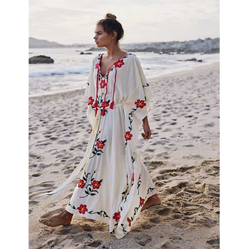Luxurious Rayon Fabric Sexy Japanese Empire Waist Beach Long Kaftan Dress Women Clothing Sexy Boho Floral Beach Cover Up Dress