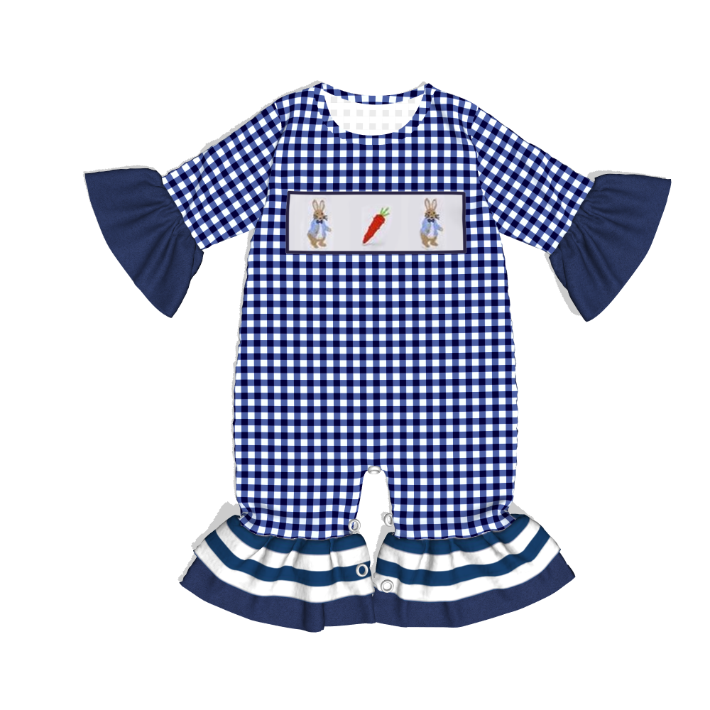 conice nini new style Rabbit print baby clothes ruffle baby girl rompers