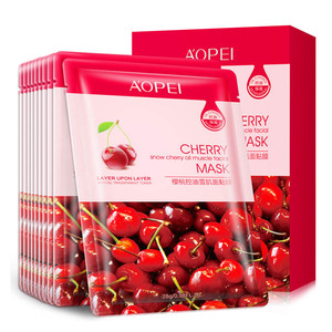 Customer logo oil-control red fruit mask refreshing and repairing natural silk facial mask sheet