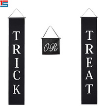 "Pintu <span class=keywords><strong>Natal</strong></span> Tanda ""Trick Or Treat"" Halloween Couplet Tirai Banner <span class=keywords><strong>Natal</strong></span> Bendera"