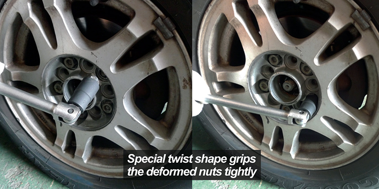 Damaged Lug Nuts with Center Punch Bar Lug Nut Remover Extractor Tool