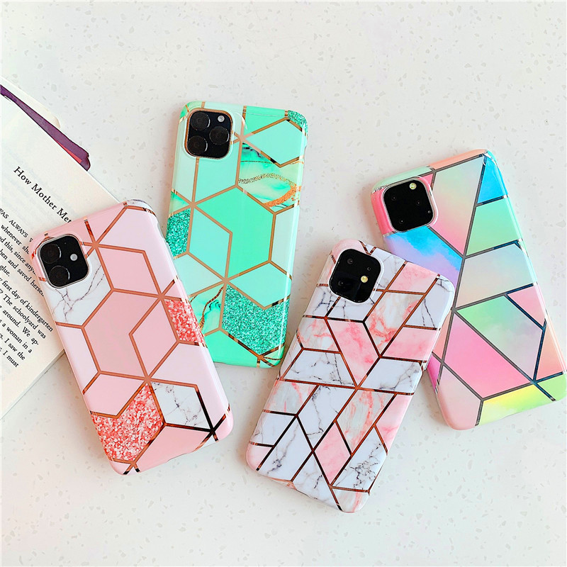 Colorful Geometry Soft Marble TPU Back Phone Cover Case for iPhone 11 Pro <strong>Max</strong>