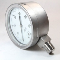 4 inch High quality all stainless steel bottom connection low pressure gauge mbar