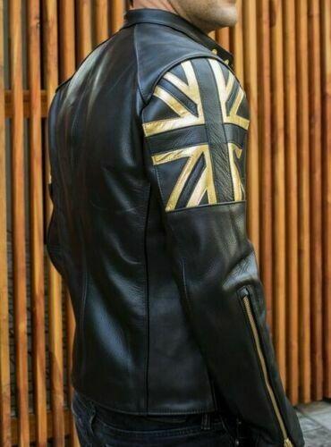Homme Motard Vintage Marron Vieilli Union Jack Cafe Racer Veste en Cuir Drapeau UK
