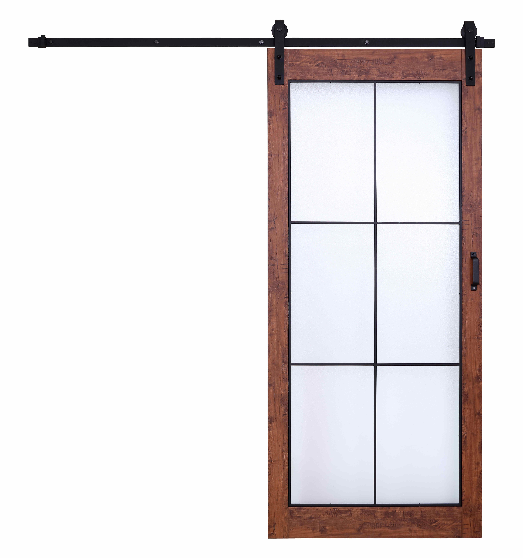 Rustic Panel Sliding Glass Door with MDF Barn Door Hardware  Wooden Sliding Door