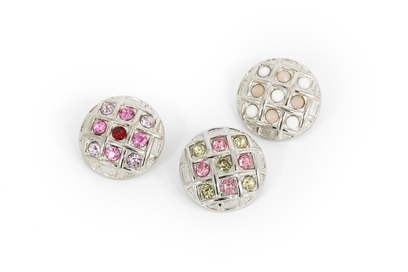 Berbentuk Bulat Dihiasi dengan Kristal Berlian Imitasi Akrilik Tombol Massal 21Mm 25Mm 30Mm untuk Pakaian kerajinan DIY, Sepatu & Tas