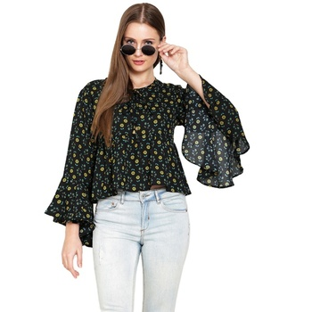 Black Printed Moss Crepe Ruffle Sleeve Crop Top For Woman And Girls Tops Manufacturer Exporter Trader Supplier Of Women Crop Top