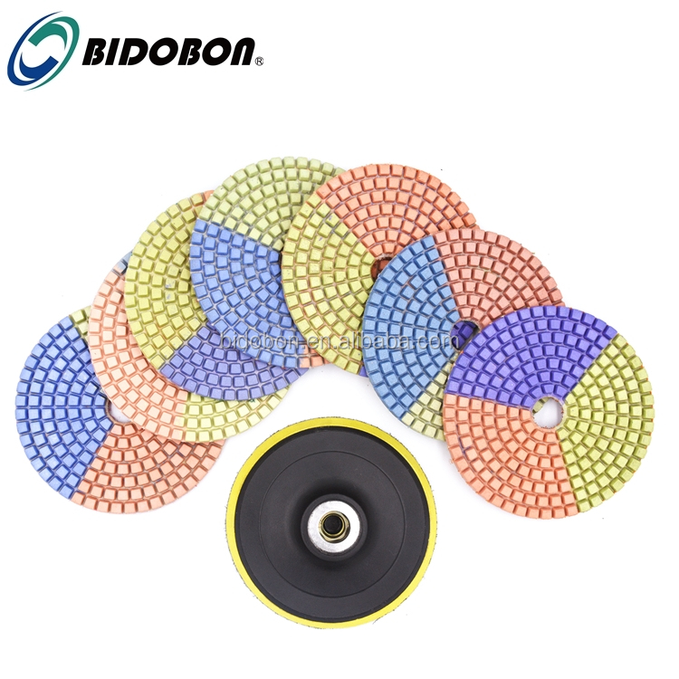 4inch 3 color Diamond Wet Polishing Pads For stone granite marble quartz engineered stone