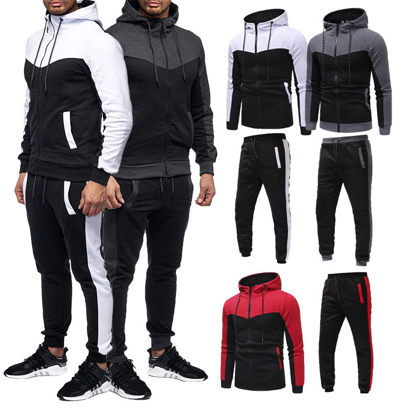 Herren Trainingsanzug Jogging Top Bottom Sport Sweat Suit Hoodie Hose Hose Set