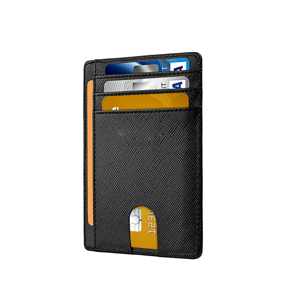 High quality black custom logo  PU leather card holder wallet  for men