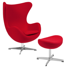 Rot Wolle Stoff Egg Chair mit Tilt-Lock Mechanismus und Ottomane