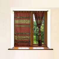 Indian Home Window Decoration Silk Curtain Jacquard Work Designer Multi Color Ethnic Curtains