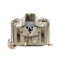 2020 New Designers Cool Women Patent PU Leather Jacket Shaped Shoulder Messenger Chain Girls Mini Crossbody Bag For Ladies
