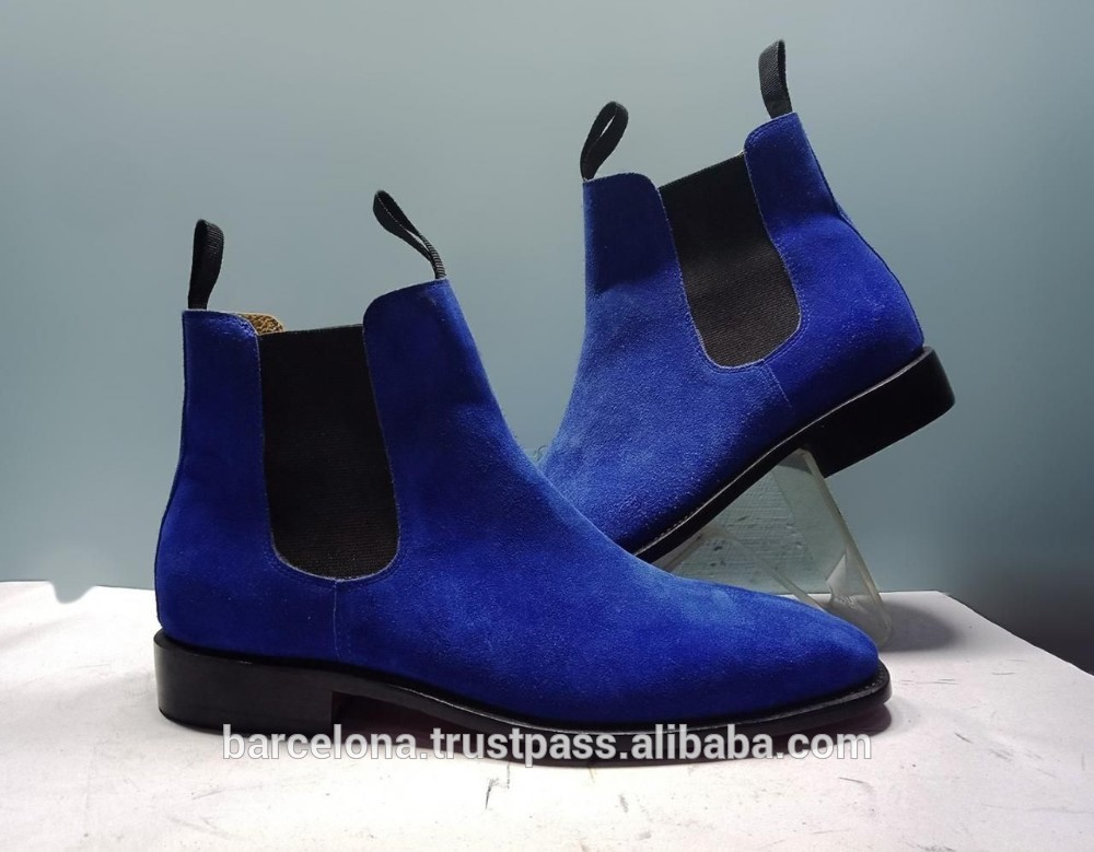 Blue Chelsea Suede Boots Men High