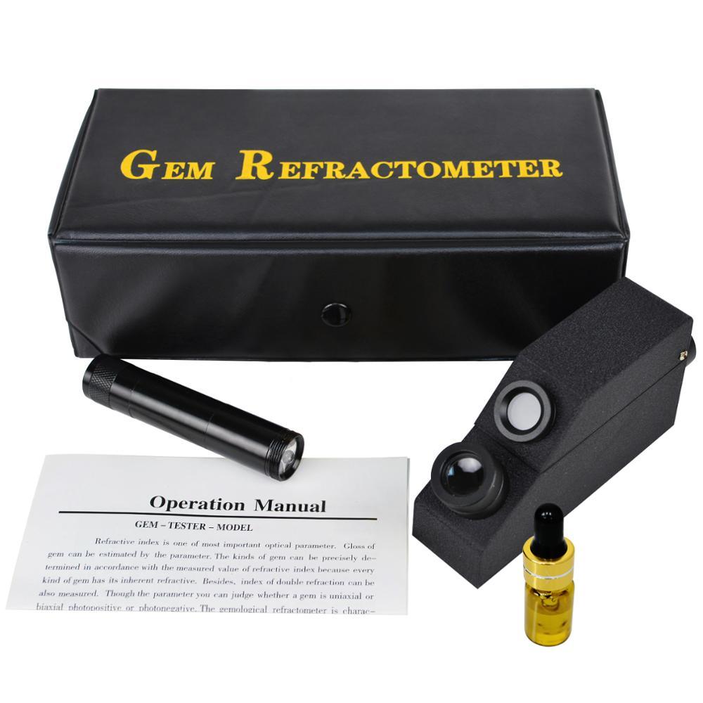Gemology драгоценный камень рефрактометр ж/монохроматический светофильтр + Поляризационный объектив 1,30 ~ 1,81 Ри диапазон