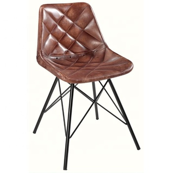 Strange Industrial And Vintage Giron Iron Dark Brown Leather Dining Chair Upholstery Chair Buy Industrial Restaurant Furniture Chairs Stacking Metal Cjindustries Chair Design For Home Cjindustriesco
