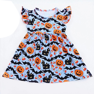 2019 new style baby girls toddler halloween orange pumpkin dress costume