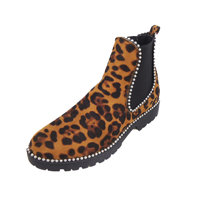 China High quality Leopard print Thick bottom heel women ankle boots