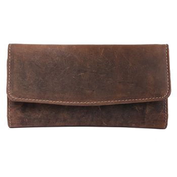 Ellena Stylish Cowhide Hunter Genuine Leather Brown RFID Clutch Wallet Purse for Women-Brown