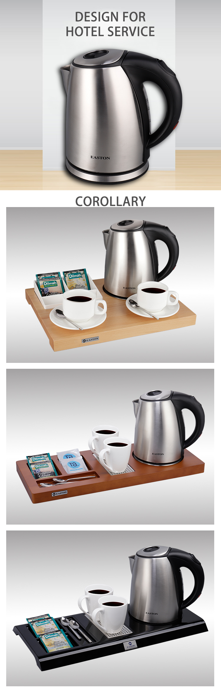 RTS top hotel quiet 1.0L electric kettle with tray set