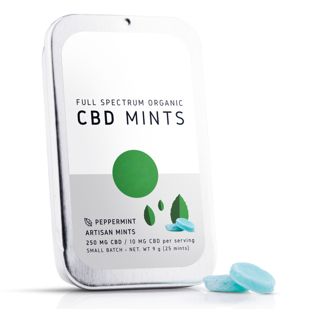 High Quality Full Spectrum CBD Mints Made in USA Great Tasting Infused Edibles - Private Label - Metal Tin Box