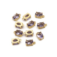 Oval shape tanzanite gemstone prong set handmade loose connectors fashion jewelry