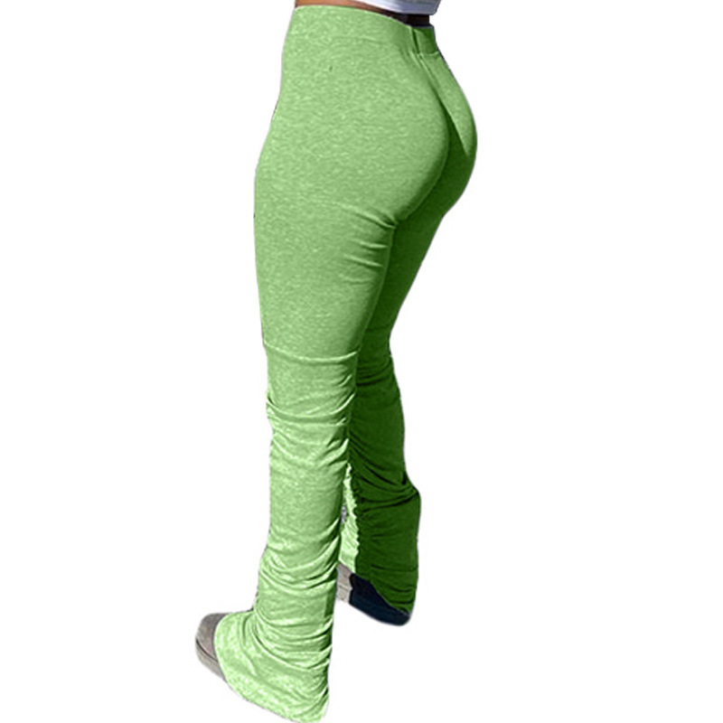 กางเกงเลกกิ้งผ้ายืดของผู้หญิง,กางเกงขาบานขาดๆทรงหลวมพิเศษเอวกลางมีกระเป๋าเชือกรูดสีพื้น