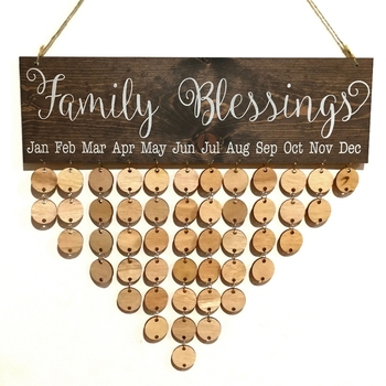 Xingyuan Family Blessing Birthday Calendar DIY Plaque Board Family Friends Reminder Wooden Crafts Wall Hanging