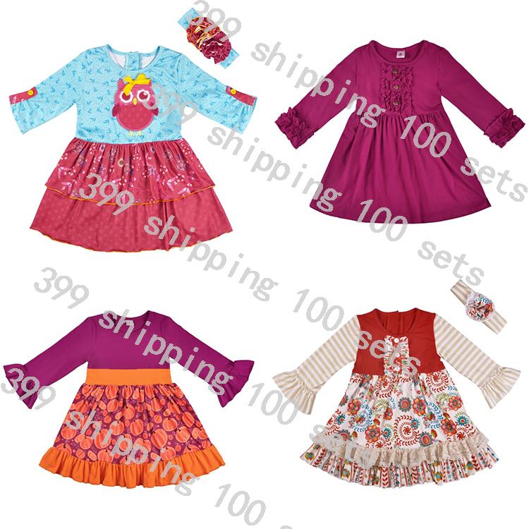 Baju Pesta Anak Perempuan Lengan Panjang, Baju Pesta Kasual Nyaman Musim Semi dan Gugur Modis 2020