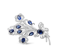 Bouquet of flowers 925 sterling silver zircon brooch pins women jewelry