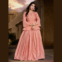 Latest Designer Embroidery Work Viscose Short Tops With Skirts Collection