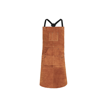 Brown cow split leather heat resistant welding apron/Split Leather carpenter apron/ BBQ split leather apron brown