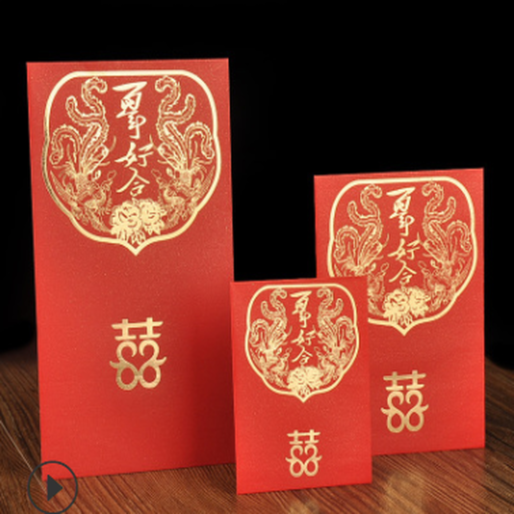 RP-047 - Luxury Custom Made Trendy Chinese New Year Traditional Red Packet Lai See Hong Bao Ang Pow Red Pocket Envelope