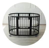 Multi Function Round Oval Convertible Baby Cribs 6in1 8in1 Made Of Solid Wood Beech Dark Color
