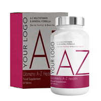 Womens A-Z Multivitamin and Minerals - Food Supplement - Round Premium Bottle - Private Labelled - Wholesale Diet Supplements