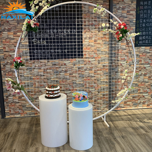 NAXILAI Wholesale Flower Wall White Wedding Backdrop Round Circle Mesh Backdrop