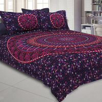 Wholesale King Size Jaipuri 100% Cotton Fitted Bed Sheet With Matching Pillow Cover