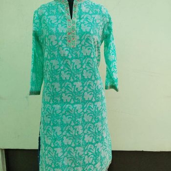Long indian kurti hand block kurta handmade top