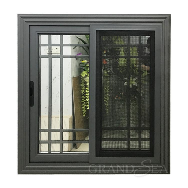 Moderna griglia di disegno di profilo in alluminio finestre scorrevoli con zanzariera