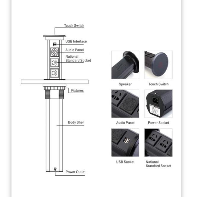 IP44 SAA सीई यूएसबी पोर्ट रसोई Countertop यूनिवर्सल बिजली के प्लग पॉप अप शक्ति विस्तार कुर्सियां