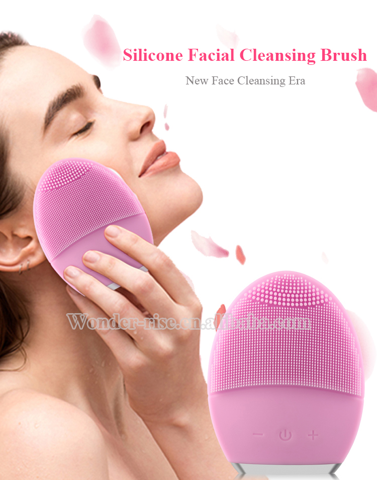 Double-sided Rechargeable Waterproof Electric Sonic Facial Cleansing Brush Silicone Facial Cleaning Brush