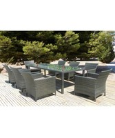 Garden Furniture Outdoor Poly Rattan Dining Set with cushion luxury