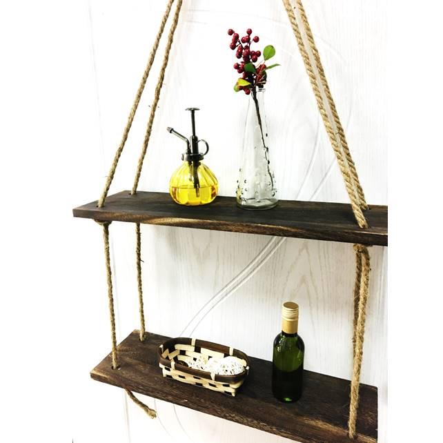 Подвесная полка 2 уровня джутовая веревка с изображением деревянной стены, плавающие полки для младенцев простое Организатор S стеллаж для хранения домашний декор