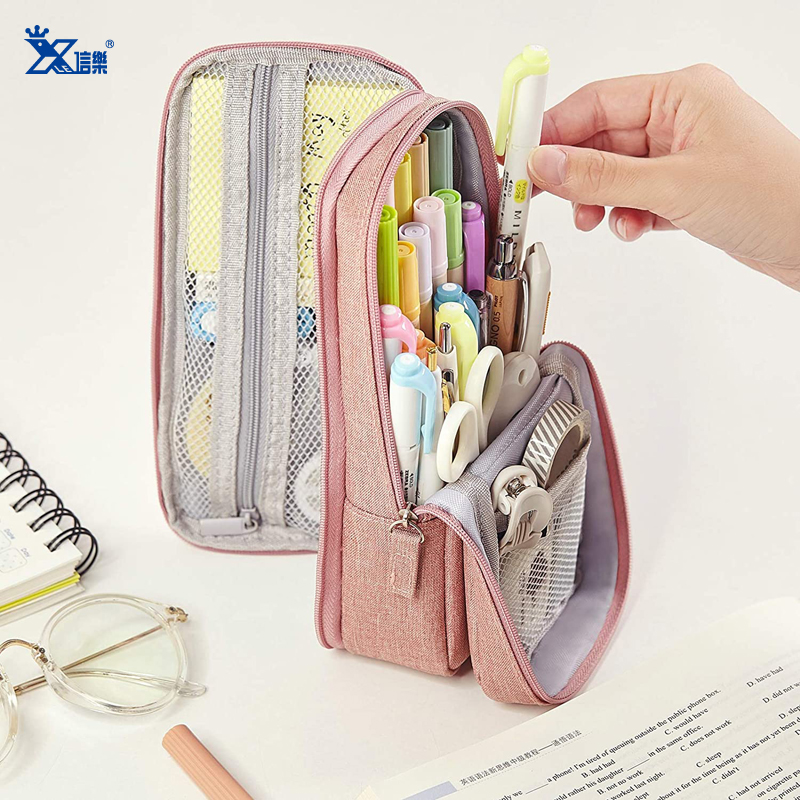 Wholesale Multi-funtion Zippered Soft Pencil Case Stand Up School Stationery Pouch