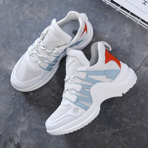 2019 Women Lace-Up Knit Chunky Sole Casual Sneakers Stylish Flats Female Breathable Training shoes mujer Zapatillas Mujer